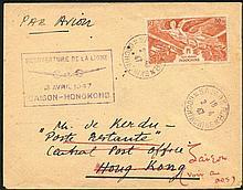INDO-CHINA 1947 Air Mail envelope addressed to Hong Kong bearing Indo-China 80c orang