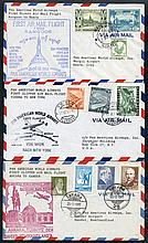 PAN AMERICAN AIRWAYS FAM 17 first flight covers to Europe onto Burma, 1946-53 Officia