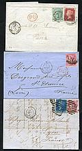 FRANCE 1856-69 various covers at the 4d rate incl. 4d carmine (4, incl. blued paper),