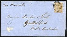 AUSTRALIA - WESTERN AUSTRALIA 1862 cover ex London to Guildford WA franked with very