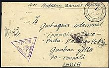 1941 O.A.S censored cover to India with two different triangular censor marks & FIELD