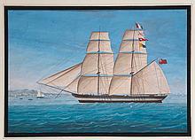 Ecole FRANCAISE du XIXème siècle <br> Un voilier <br> Gouache <br>   <br> 24,2 x