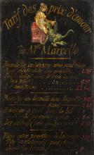 Rare panneau tarifaire des services de Mlle Marcel
