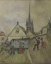 CELSO LAGAR (1891-1966) FORAINS A JOUY-EN-JOSAS Huile sur toile marouflée s