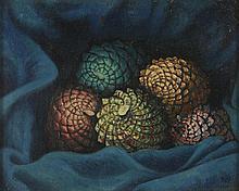 FRED ZELLER DIT KERMORVER(1912-2003) POMMES DE PIN, 1948  Huile sur panneau