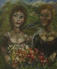 EDOUARD JOSEPH GOERG (1893-1969) FEMMES AU BOUQUET DE FLEURS, 1965  Huile s
