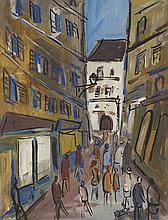 ROLAND DUBUC (1924-1998) RUELLE Huile sur papier marouflé sur toile Signée