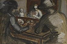 AUGUSTE CHABAUD (1882-1955) LA PARTIE DE CARTES, CIRCA 1952  Fusain et huil
