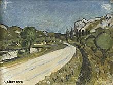 AUGUSTE CHABAUD (1882-1955) ROUTE DE FRIGOLET, CIRCA 1920  Huile sur carton