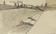 AUGUSTE CHABAUD (1882-1955) PASSERELLE D'AUSTERLITZ, CIRCA 1907  Encre de C