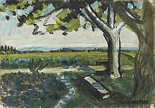 AUGUSTE CHABAUD(1882-1955) LES QUATRE PLATANES, CIRCA 1935  Huile sur carto