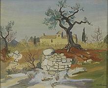 YVES BRAYER (1907-1990) MAS A ST REMY DE PROVENCE,  CIRCA 1945 Huile sur to