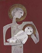 SAMI BRISS (NE EN 1930) MATERNITE A L'ENFANT ENDORMI Gouache, encre et feui