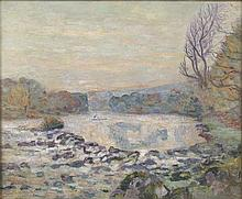 ARMAND GUILLAUMIN (1841-1927) BARRAGE DU GENETIN, CROZANT, CIRCA 1906  Huil