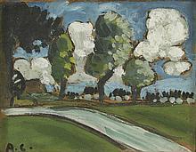 AUGUSTE CHABAUD (1882-1955) ARBRES ET NUAGES, CIRCA 1912  Huile sur carton