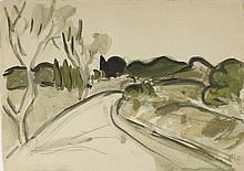 AUGUSTE CHABAUD (1882-1955) ROUTE DE MONTAGNE, CIRCA 1912  Huile et gouache