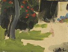 AUGUSTE CHABAUD (1882-1955) LE JARDIN, CIRCA 1925  Huile sur carton Monogra