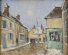 GUSTAVE LOISEAU (1865-1935) RUE DE VILLAGE AVEC CHARRETTE Huile sur toile S