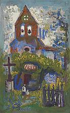 SUZANNE TOURTE (1904-1979) MAISON Gouache sur papier Signée en bas à gauche