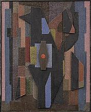 CLAUDE CUNDA (NE EN 1915) COMPOSITION, 1975  Huile sur bois, collages d'élé