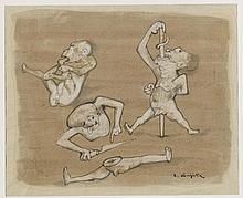 LEONARD TSUGUHARU FOUJITA (1886-1968) LA DANSE DES SUICIDES Encre de Chine