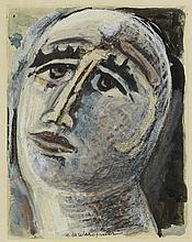 HENRI DE WAROQUIER(1881-1970) VISAGE AU BONNET, 1924  Aquarelle, encre de C