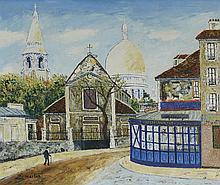ELISEE MACLET (1881-1962) PLACE DU TERTRE, MONTMARTRE  Huile sur toile Sign