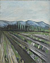AUGUSTE CHABAUD (1882-1955) LES SILLONS, CIRCA 1909  Huile sur carton marou