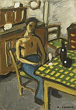 AUGUSTE CHABAUD (1882-1955) SCENE D'INTERIEUR, CIRCA 1920  Huile sur carton