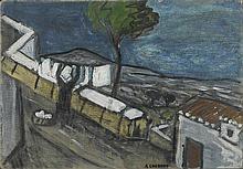 AUGUSTE CHABAUD (1882-1955) LE LINGE ETENDU, CIRCA 1912  Carton peint au do
