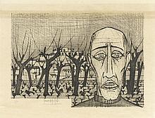BERNARD BUFFET (1928-1999)  PORTRAIT ET PAYSAGE  Pointe sèche en noir sur v