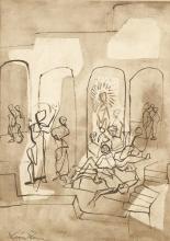 LEON ZACK (1892-1980) PERSONNAGES Encre et lavis d'encre de