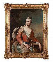 ECOLE ITALIENNE VERS 1750 Portrait de jeune femme devant un paysage Toile 117 x 89,5 cm