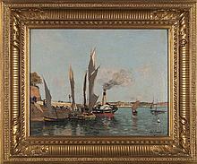 PAUL LECOMTE Bateau à vapeur et voiliers Carton Signé en bas à gauche Paul Lecomte 27 x 35 cm