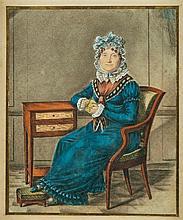 A. DUBOC (Actif en France vers 1820). Portrait d'une femme à la robe bleue. Portrait d'un homme tena