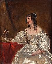 ECOLE ANGLAISE DU DEBUT DU XIXE SIECLE Portrait de femme à la robe blanche Carton 31 x 24 cm Provena