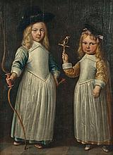 ATTRIBUE A JACOB GERRITSZ CUYP (1594 - 1652) Portrait de deux enfants en pieds Panneau de chêne, pa