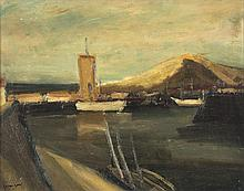 Charles Counhaye (1884 - 1971) Le port, 1942 Huile