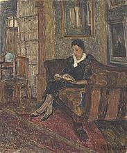 Henri Le Roux (1872 - 1942) Ma femme lisant, 1936