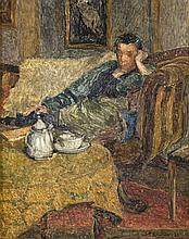 Henri Le Roux (1872 - 1942) Ma femme prenant le th