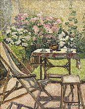 Henri Le Roux (1872 - 1942) Au jardin, 1938 Huile