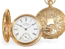 Pocket watch: very beautiful gold huntingcase watch by Waltham, ca. 1887 (NO LIVE FEE)