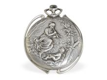 Pocket watch: extravagant and very rare Longines Art Nouveau pocket watch with relief case, ca. 1910 (NO LIVE FEE)