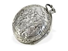 Rare repoussé verge watch by Charles Cabrier London, with figured Cochin-case, ca. 1750 (NO LIVE FEE)