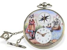 Pocket watch: extremely rare captain's watch with enamel painting and compass, Bordier a Geneve, ca. 1810 (NO LIVE FEE)