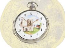 Pocket watch: Very rare verge watch with automaton and Royal Escutcheon, Hallmarks 1813 (NO LIVE FEE)