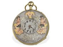 Pocket watch: Rare figured automaton Jaquemart, multicoloured figures (NO LIVE FEE)
