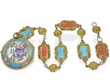 Pocket watch: very rare rococo enamel verge watch with corresponding chain, Berthoud a Paris ca. 1750 (NO LIVE FEE)