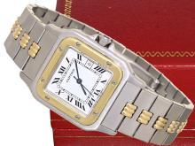 Wristwatch: Gentlemen's watch Cartier Santos stainless steel/18 K gold, automatic (NO LIVE FEE)