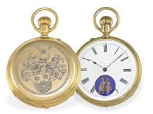 Pocket watch: Very fine Geneva Ankerchronometer watch with erotic automaton (NO LIVE FEE)